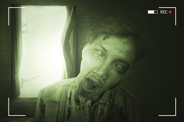 portrait of scary asian zombie man