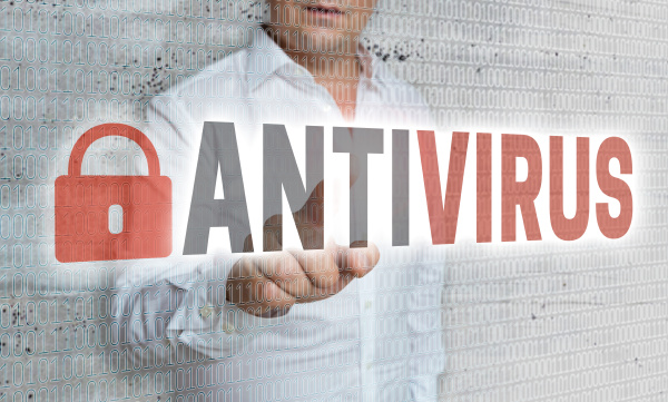 antivirus with matrix and businessman concept