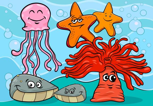 sea life cartoon animal characters
