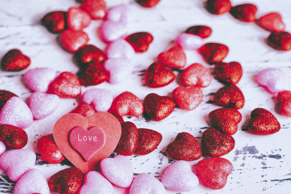 valentine hearts on table
