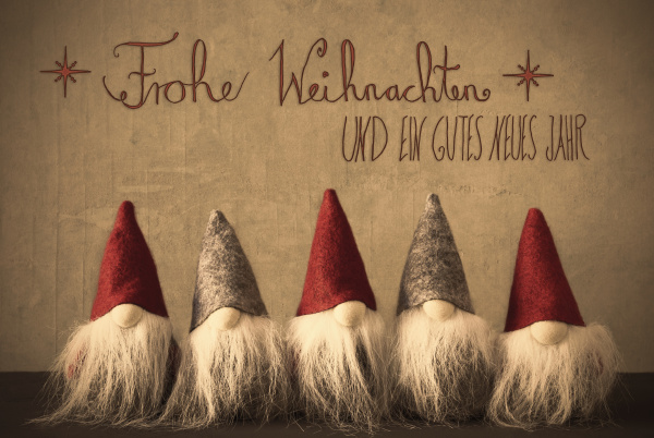 gnomes calligraphy frohe weihnachten means