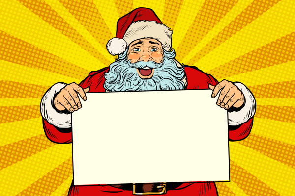 joyful santa claus with poster template