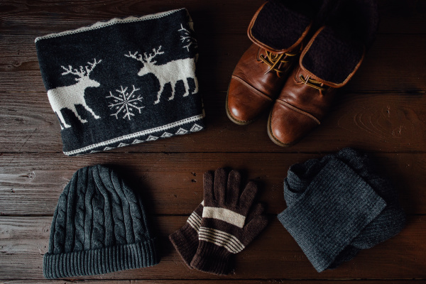 men s winter clothes on a