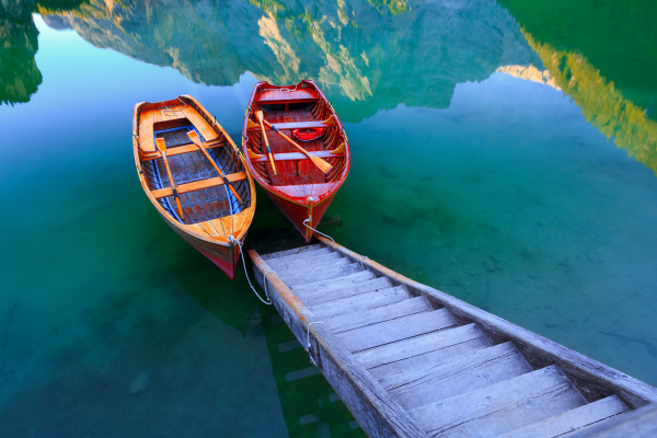 braies lake and boats in the