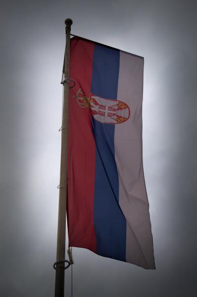 serbian flag on wind