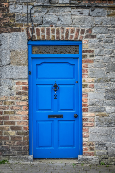 blue doors of an old home