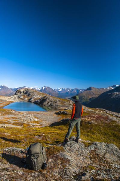 a man hiking near an unnamed
