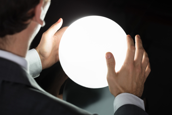 businessman s hand predicting future with