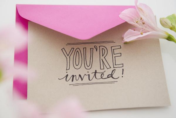 close up of invitation card