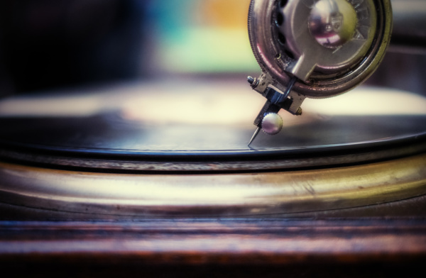studio close up of record player