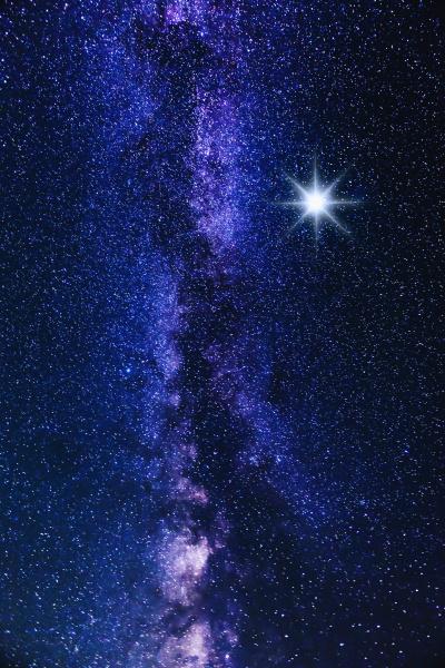 milky way and big bright star