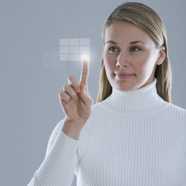 woman touching lighted display