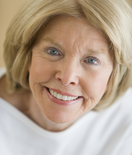 close up of senior woman smiling