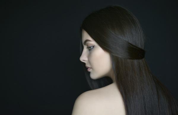 profile of caucasian woman