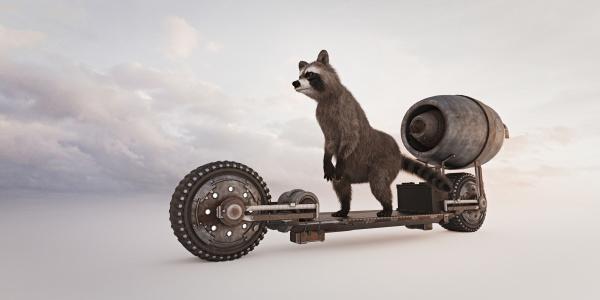raccoon riding futuristic skateboard