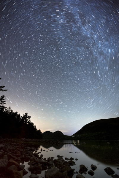 star trails over bubble mountains