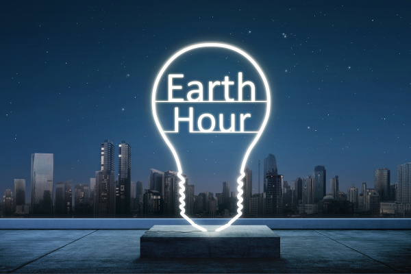 earth hour text inside of lights