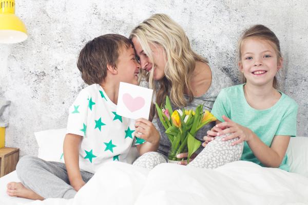 happy family children congratulate