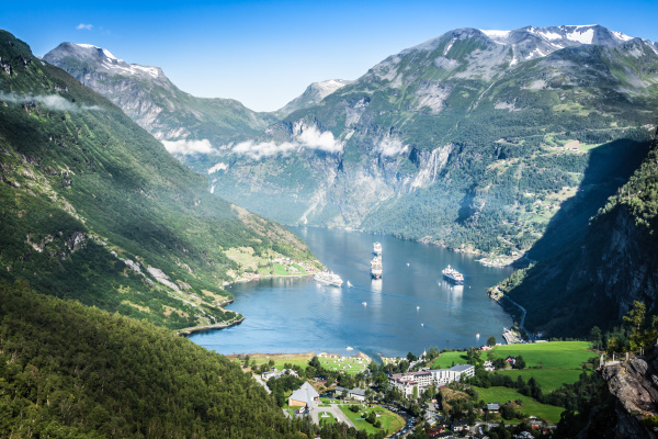 geiranger fjord panoramic view norway