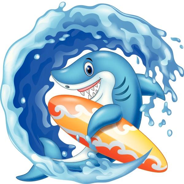 cartoon shark holding surfboard in the