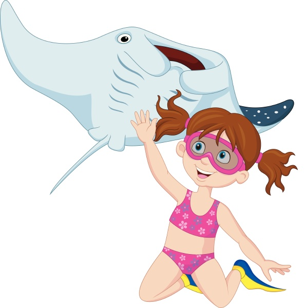 cartoon little girl diving with stingray