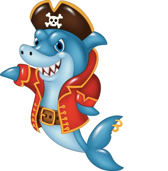 cartoon shark pirate presenting isolated on