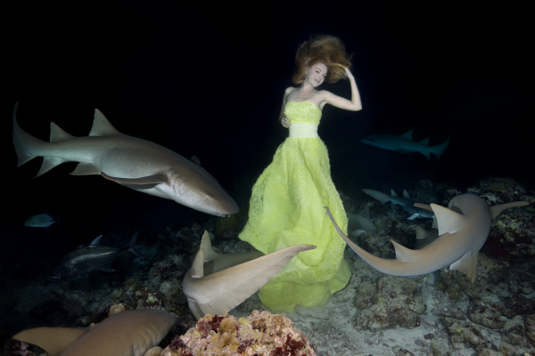 young beautiful woman in yellow dress
