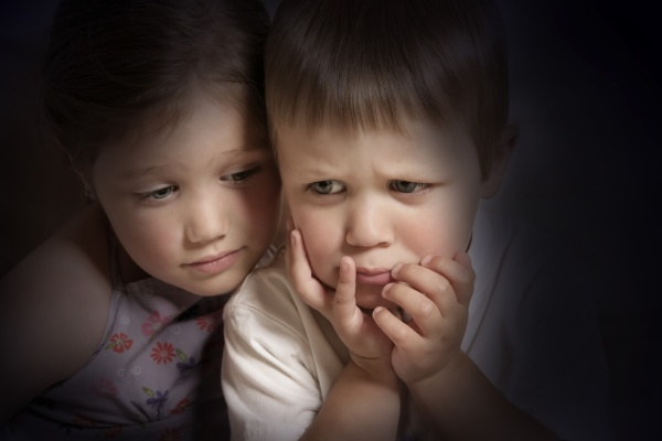 children with gloomy faces