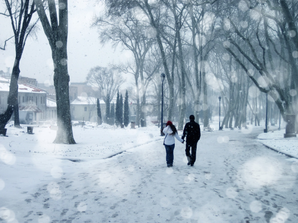 couple walking in winter time