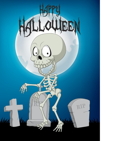 halloween background with skeleton walking in