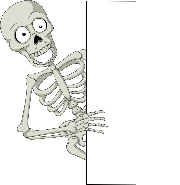 cartoon skeleton with blank sign