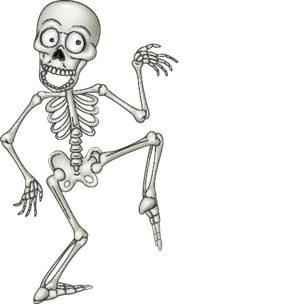 cartoon funny human skeleton dancing
