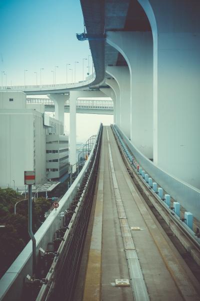 monorail on rainbow bridge tokyo japan