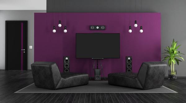 black and purple home cinema