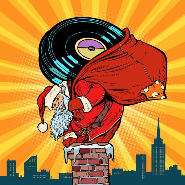 santa claus with vinyl records climbs