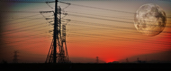 landscape with powerlines at sunrise and