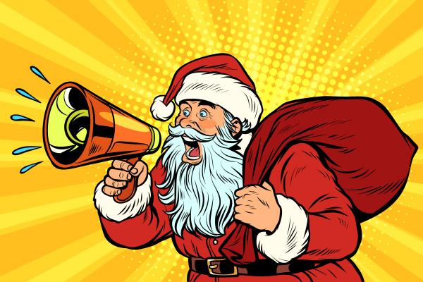 pop art santa claus with megaphone