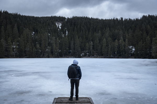 man on frozen lakeshore on cold