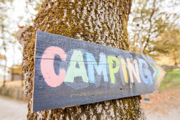 wooden, camping, sign - 25878610