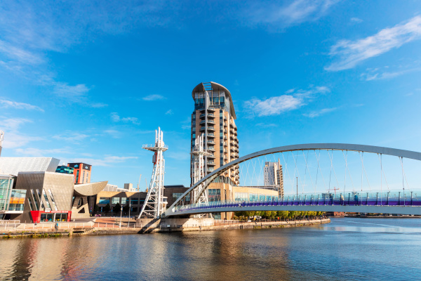 modern buildings at salford quays with