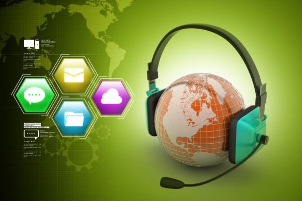 headset with world globe concept