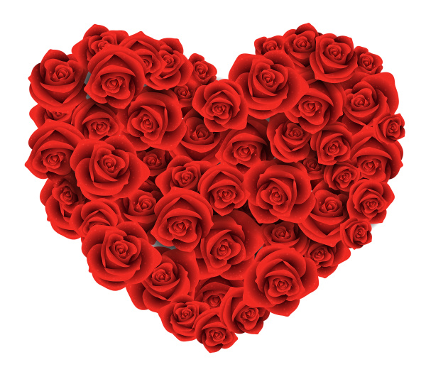 heart of red roses shape romantic