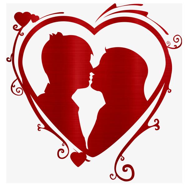 heart kiss couple love metallic illustration