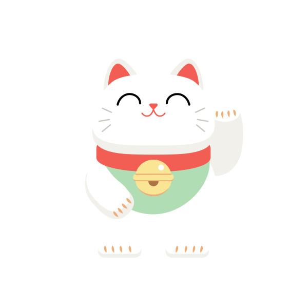 kitten lucky cat japan fortune white