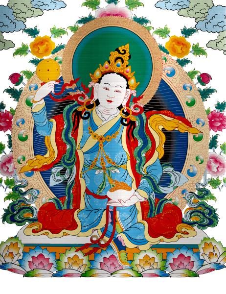 thangka tibet antique metallic illustration buddhist