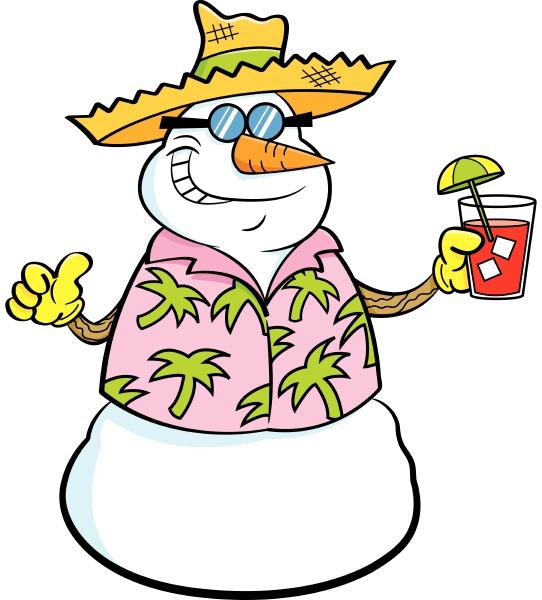 cartoon illustration of a snowman wearing