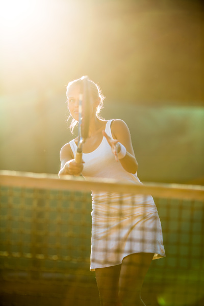 portrait of a pretty young tennis