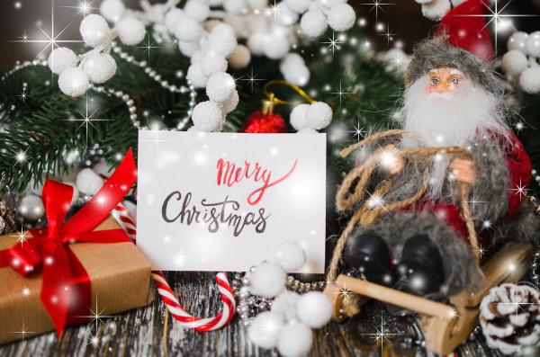 christmas still life with decorative santa