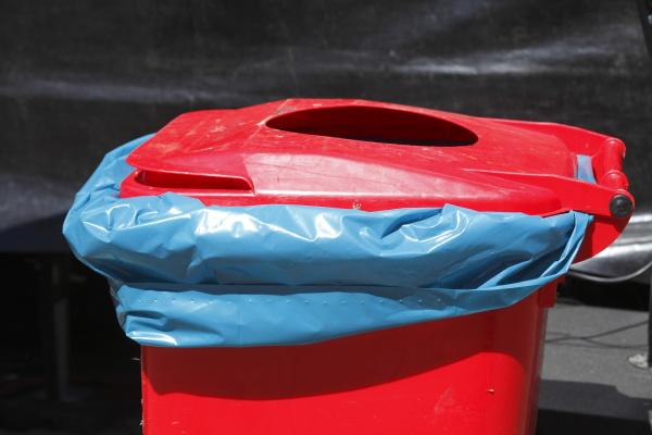 red public garbace can waste bin