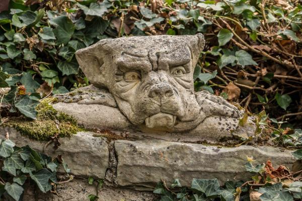 little goblin head on a stone